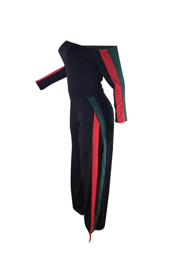 Leisure Bateau Neck Slit Design Black Polyester One-piece Jumpsuits