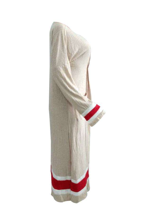 Abrigo Largo Con Cuello En V De Poliéster Albaricoque Patchwork