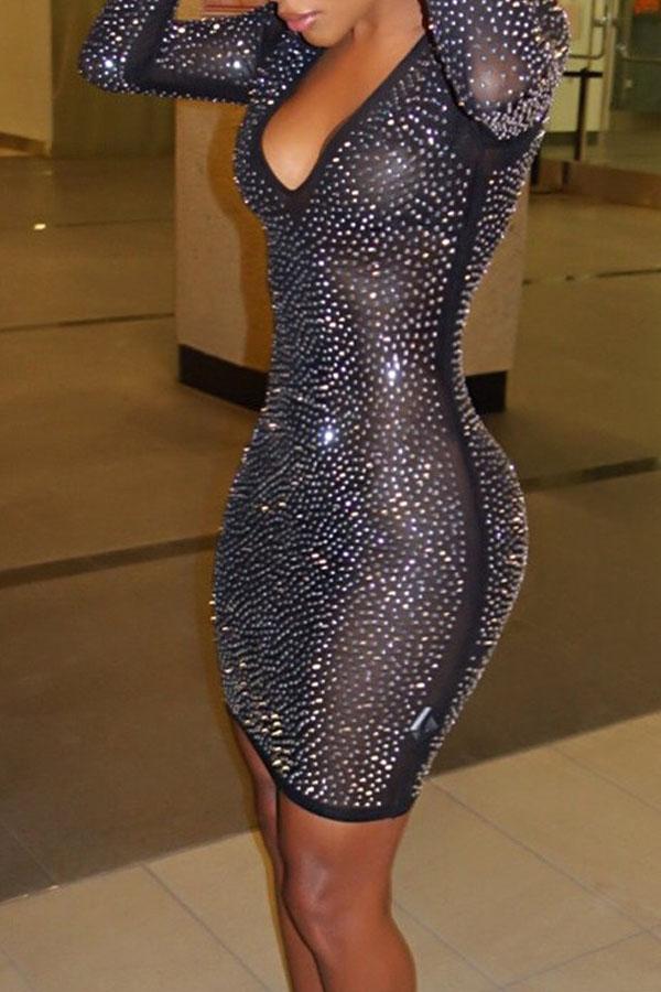Euramerican U Neck See-Through Sequined Decorative Black Gauze Mini Dress