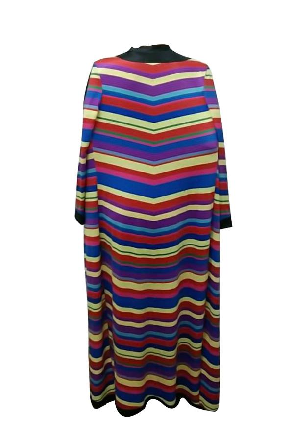 Сексуальная Круглая Полосатая Печатная Мини-платье Qmilch (с Пальто)