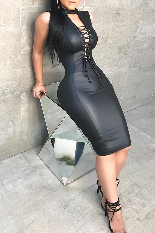 Сексуальный Мандарин Воротник Шнуровке Выдалбливают Черный PU Длина Колена Платье