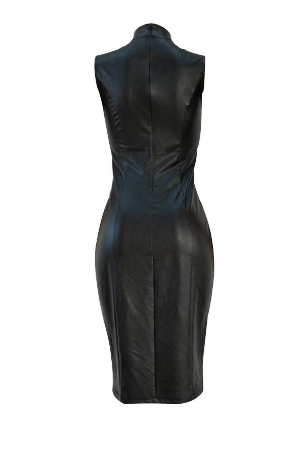 Sexy Mandarin Kragen Schnürung Aushöhlen Schwarz Pu Knielanges Kleid