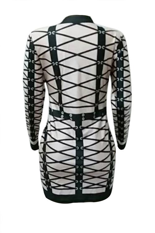 Sexy Round Neck Striped Printed Beige Polyester Mini Dress