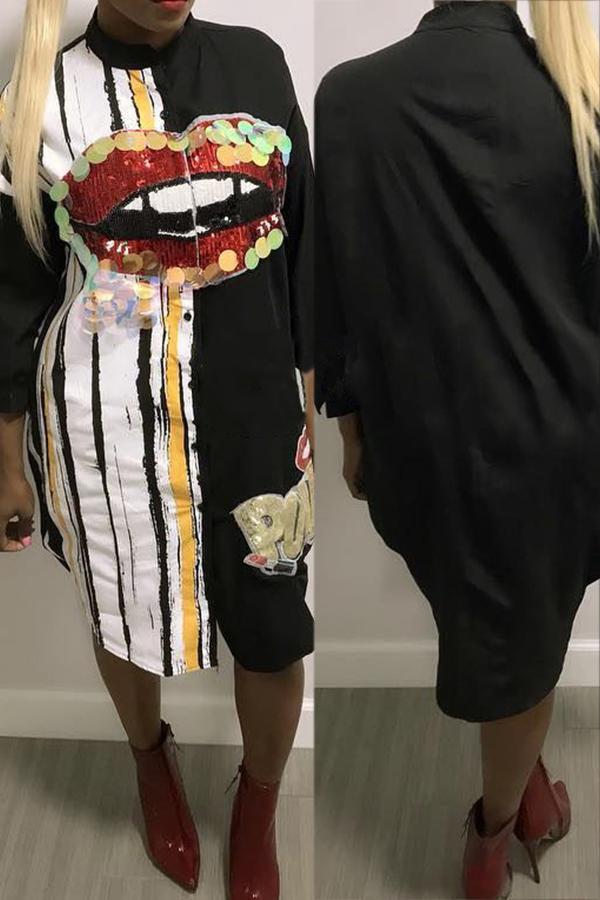 Cuello Redondo Casual Impreso Lentejuelas Decoración Vestido De Media Pierna De Poliéster Negro