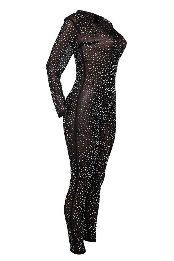 Euramerican V Neck Hot Drilling Decorative Black Polyester One-piece Jumpsuits