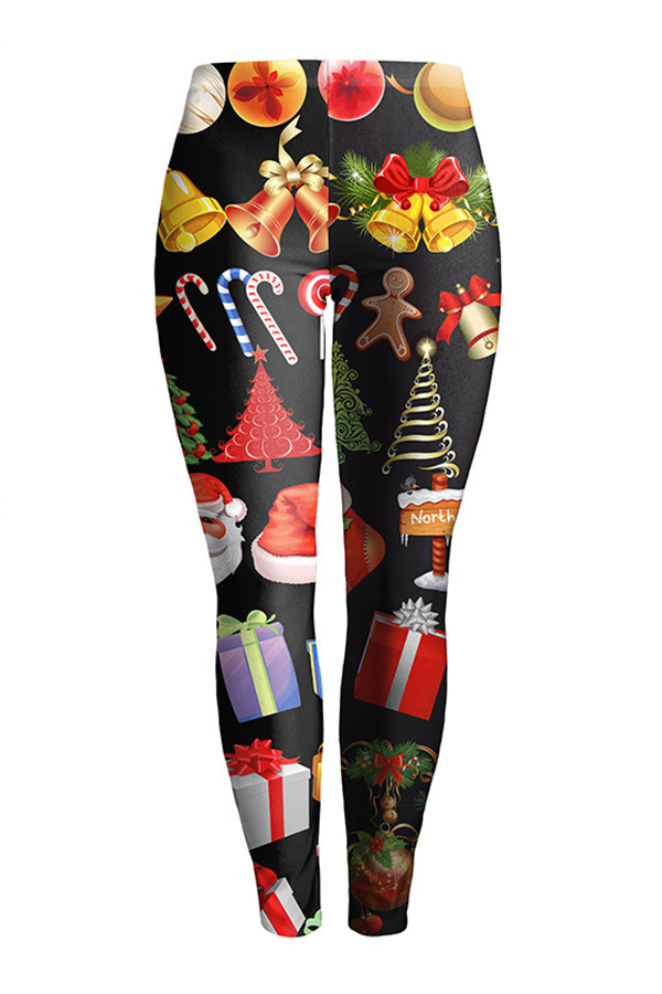 Calzas Euramerican De Cintura Media Estampadas De Poliéster Negro De Navidad