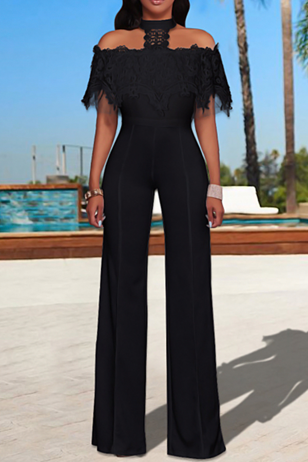 Trendy Halter Neck Lace Patchwork Wide-legs Design Black Polyester One-piece Jumpsuits