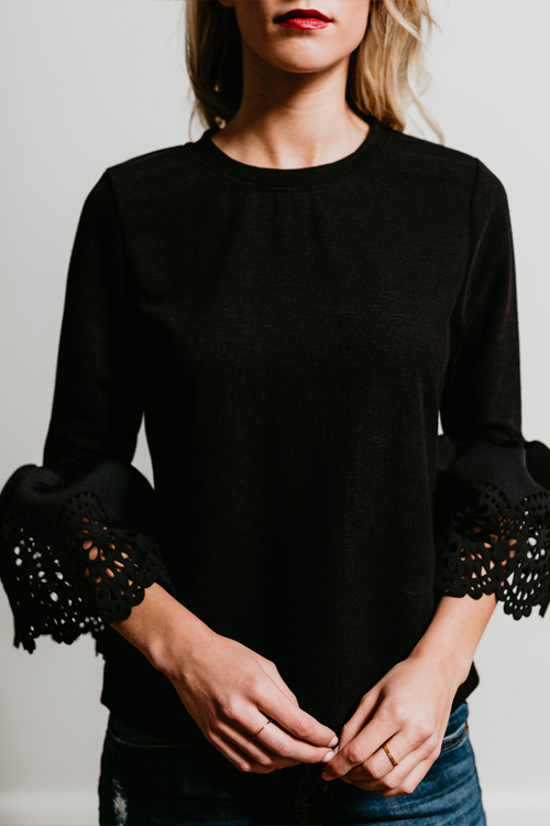 Lovely Stylish Round Neck Trumpet Sleeves Hollow-out Black Blending T-shirt