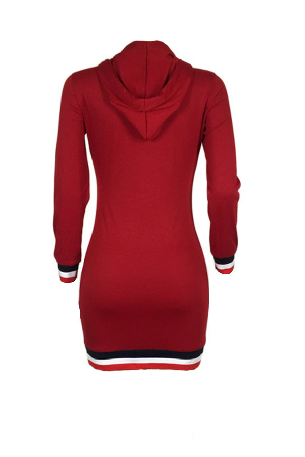 Casual Hooded Collar Letters Printed Wine Red Polyester Mini Dress