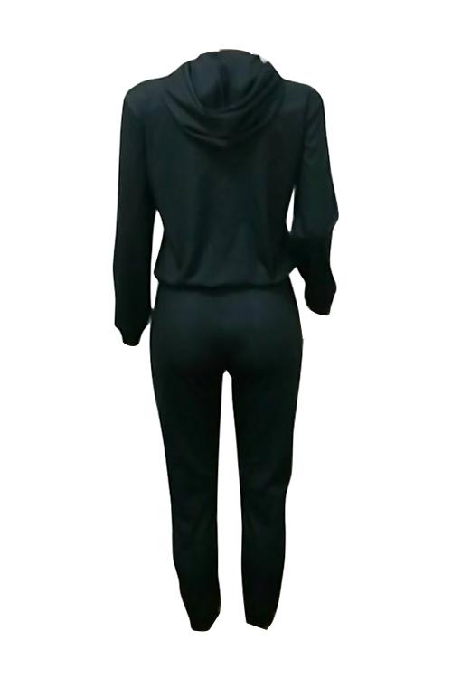 Freizeit Mit Kapuze Kragen Tasche Design Gedruckt Schwarz Polyester Zweiteilige Hose Gesetzt
