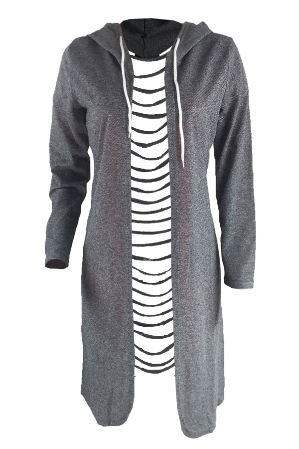 Casual Hooded Collar Hollow-out Grey Polyester Coat