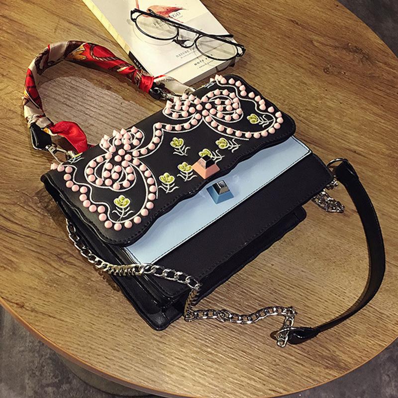 Retro Embroidered Design Black PU Crossbody Bag