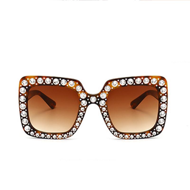 Мода Диамант Декоративный Леопард Печать Квадратная Рамка ПК Солнцезащитные Очки