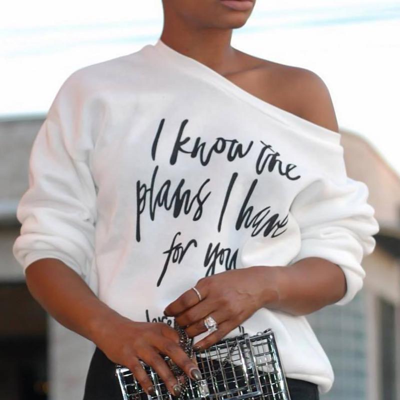 Hombros Preciosos De Moda Inclinados Letras Impresas En Poliéster Blanco Camiseta