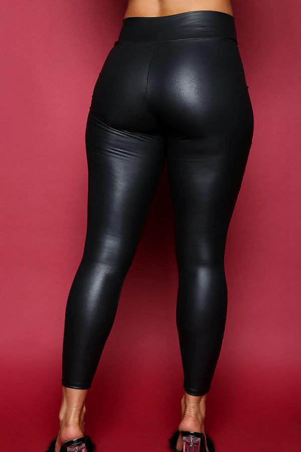 Euramerican High Elastic Waist Burnt-out Design Black Leather Pants