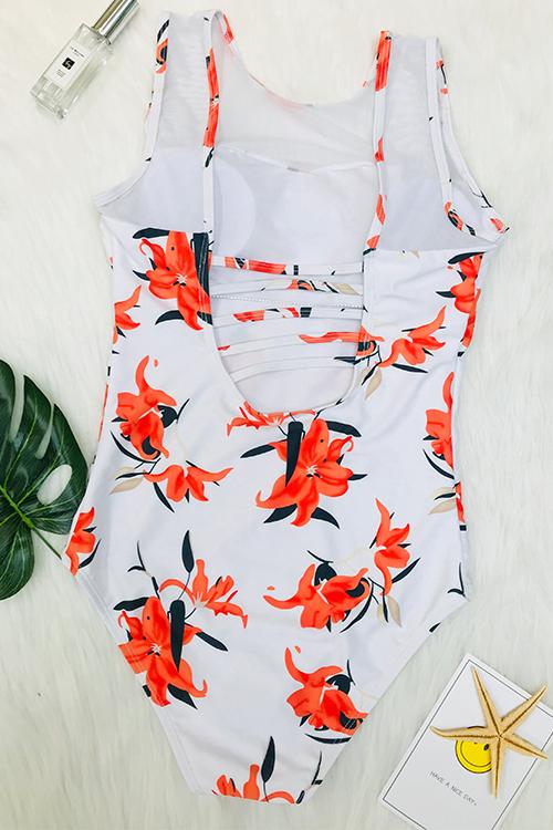 Sexy Rundhalsausschnitt Rückenfreie Floral Bedruckte Weiße Polyester Einteilige Bademode