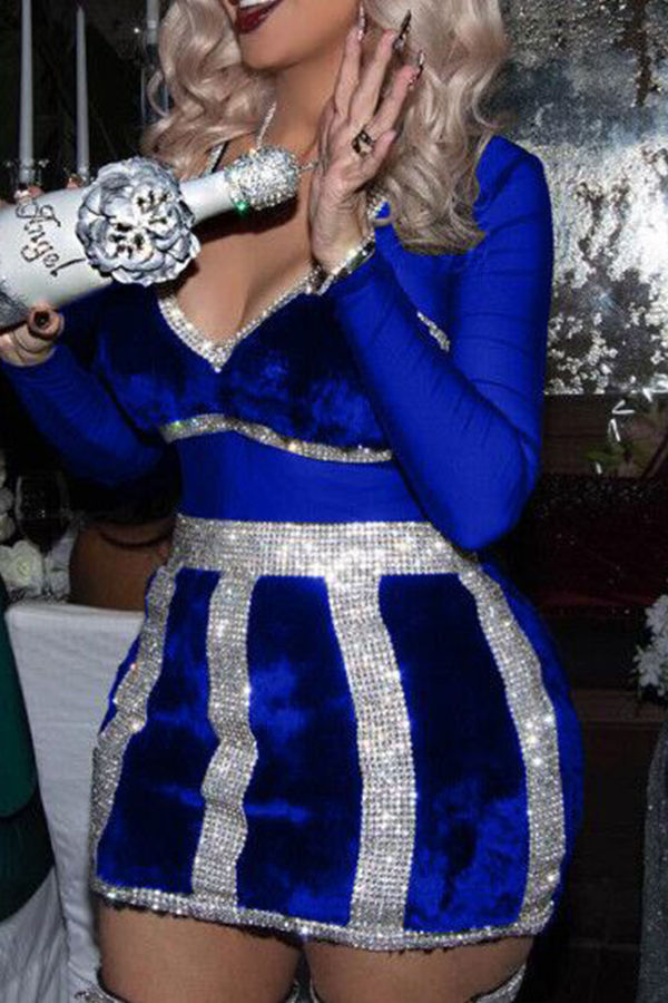 Sexy V Neck See-Through Royalblue Polyester Mini Dress Dresses <br><br>