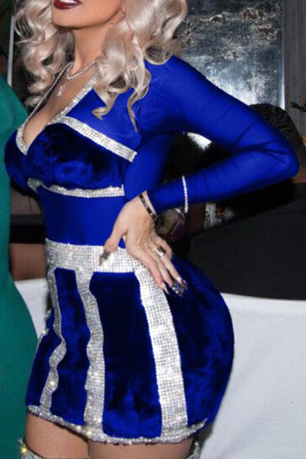 Vestido Sexy Com Pescoço V Com Mini Vestido De Poliéster Royalblue