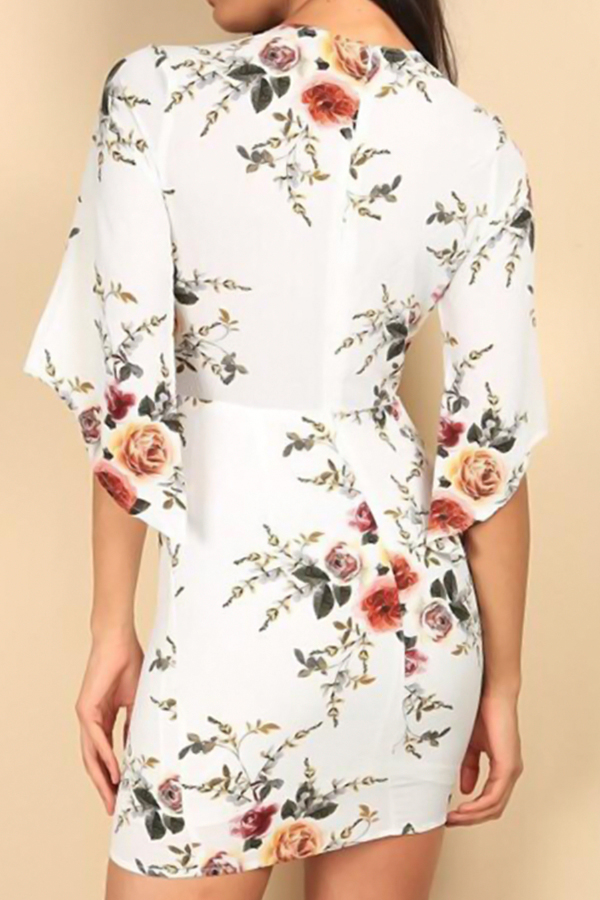 Sexy V Neck Lace-up Floral Printed White Polyester Mini Dress(Non Positioning Printing)