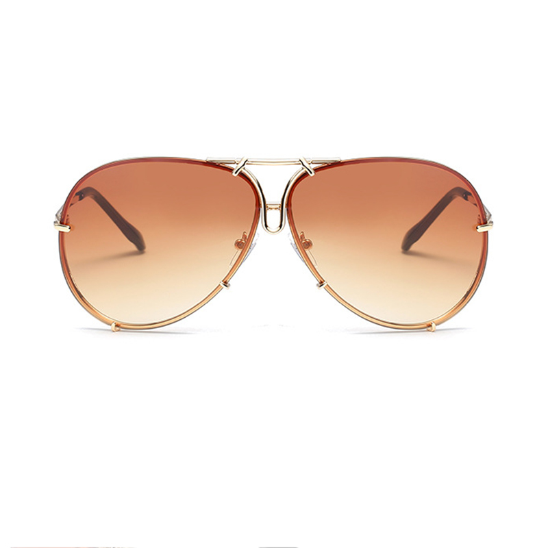 Fashion Gold Frame Coffee PC Sunglasses