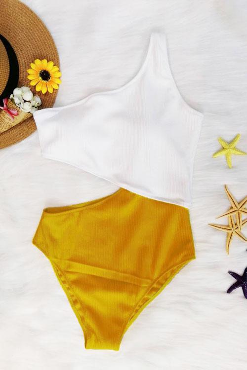 Show Sexy Um Ombro Patchwork De Nylon Amarelo De Uma Peça De Banho