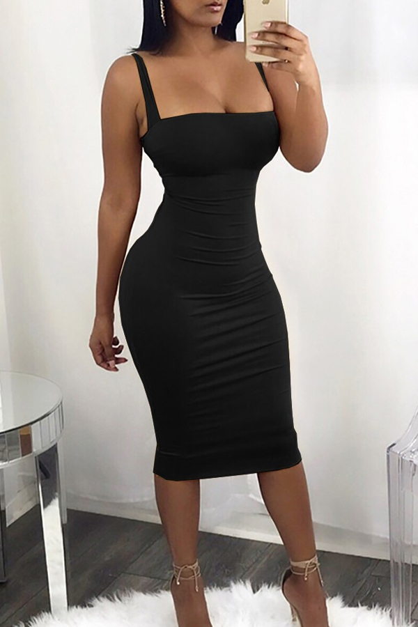 Sexy Square Neck Backless Lace-up Black Polyester Mid Calf Dress