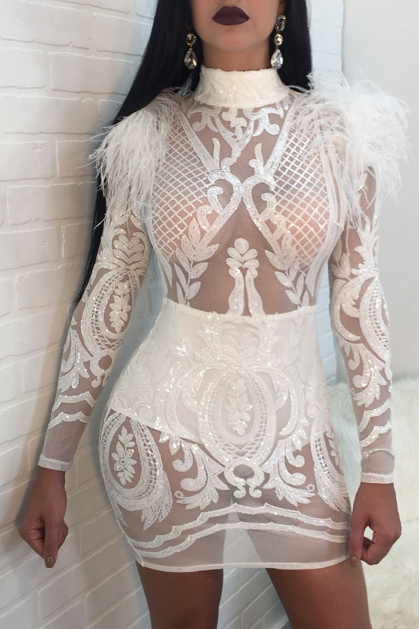 Sexy Round Neck Sequins And Fur Decoration See-Through White Polyester Mini Dress
