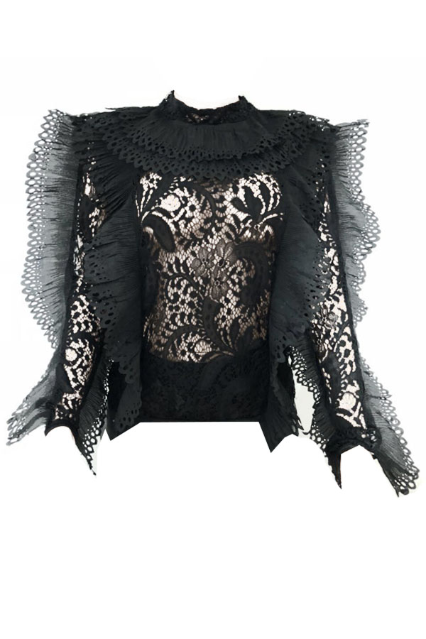 Stylish Round Neck Lace Patchwork See-Through Black Polyester Shirts
