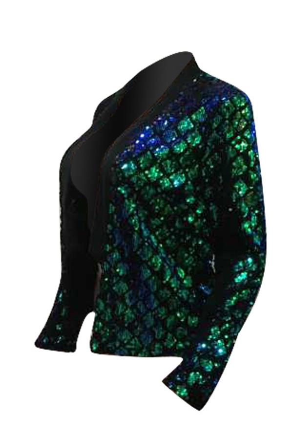 Lovely Sexy Mandarin Collar Sequins Decoration Green Polyester Blazer