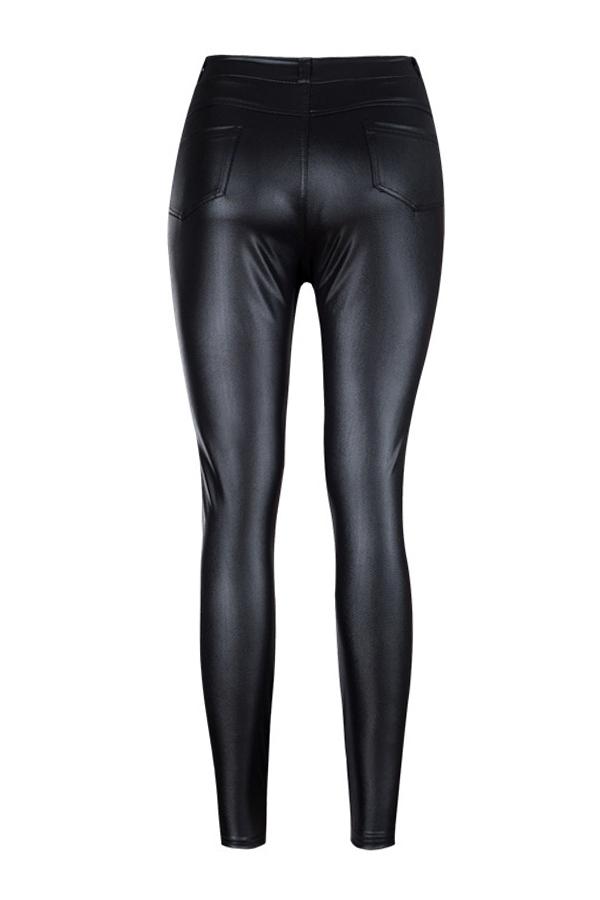 Pantalones De Moda Con Cremallera De Cuero Negro De Cintura Alta