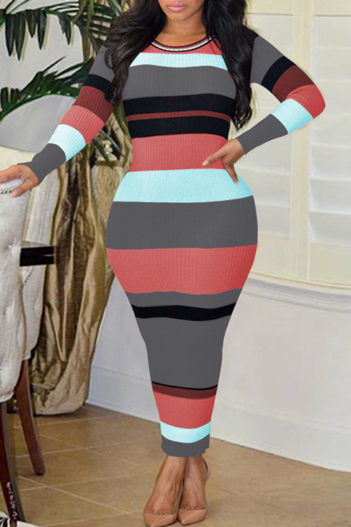 Sexy Round Neck Striped Patchwork Grey Polyester Ankle Length Dress