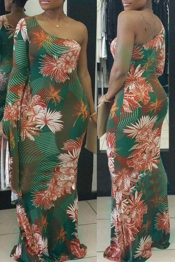 Сексуальное Шоу Плечо Цветочное Напечатанное Здоровое Платье Длины Лодыжки Ткани (без Позиционирующей Печати)