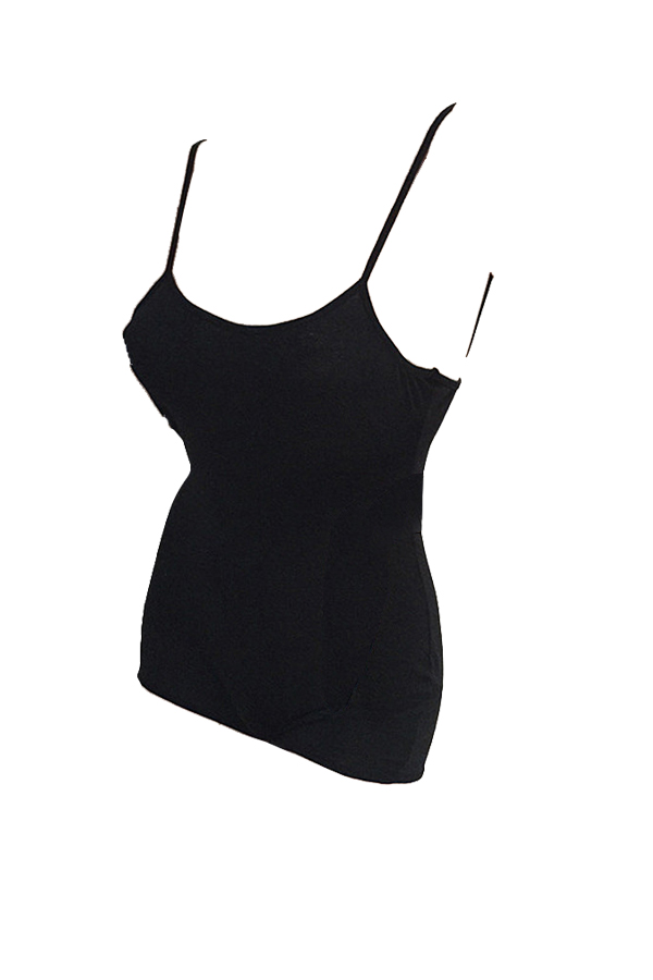 Sexy Spaghetti Strap Sleeveless Black Cotton One-piece Short Jumpsuit