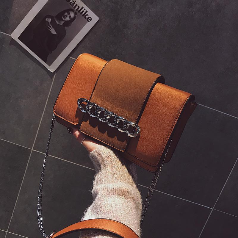 Fashion Chain Decoration Light Brown Leather Crossbody Bag