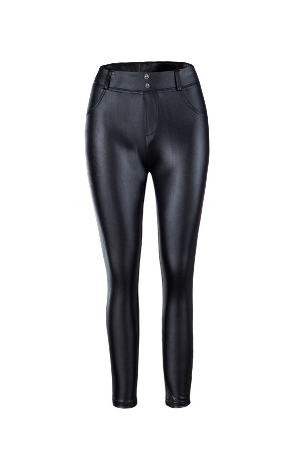 Sexy Mid Waist Zipper Design Black Leather Leggings