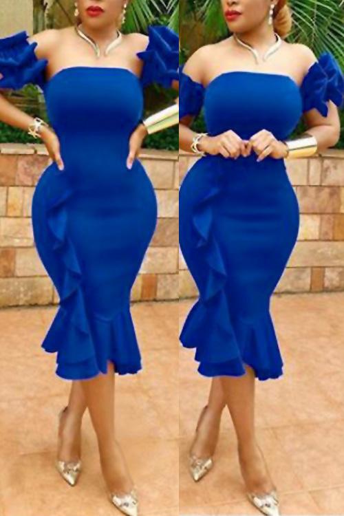 Sexy Bateau Neck Ruffle Design Blue Polyester Knee Length Dress Dresses <br><br>