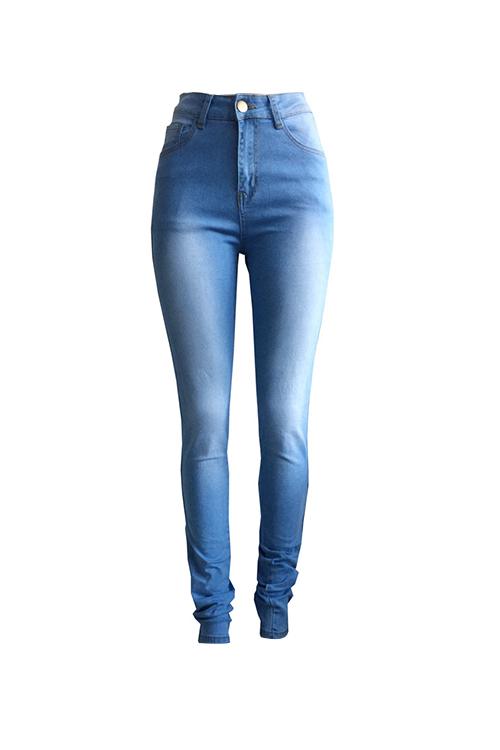 Fashion Mid Waist Broken Holes Light Blue Denim Zipped Jeans
