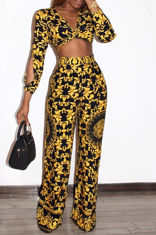 Stylish V Neck Printed Hollow-out Yellow Qmilch Two-Piece Pants Set