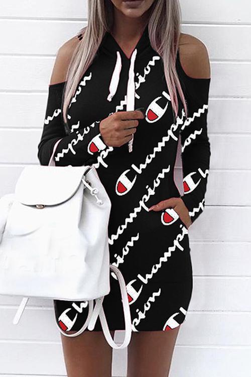 Euramerican Kapuzenkragen Cold-Shoulder-Buchstaben Gedruckt Schwarz Polyester Minikleid (nicht Positionierung Druck)