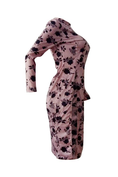 Elegante Rodada Pescoço Floral Impresso Lado Cortado Rosa Poliéster T-shirt
