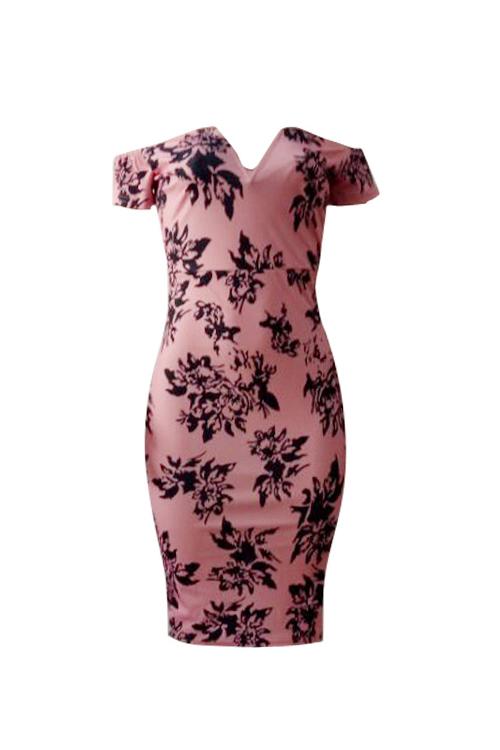 Sexy Bateau Neck Printed Pink Polyester Sheath Knee Length Dress