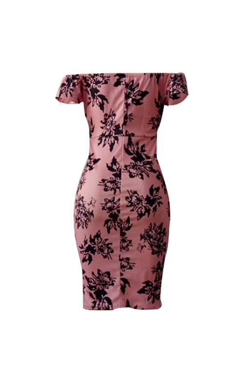 Sexy Bateau Neck Printed Pink Polyester Sheath Knee Length Dress