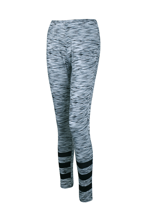 Stylish High Waist Patchwork Grey Polyester Leggings