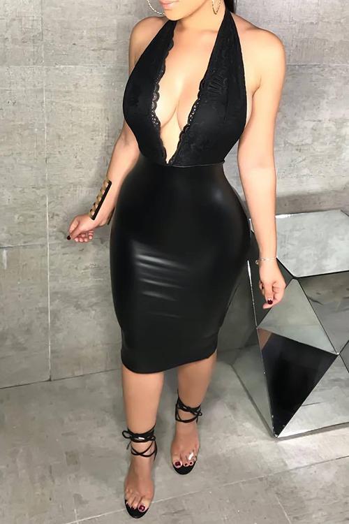 Сексуальный Глубокий V Шеи Спинка Кружева Сплайсинг Черный PU Платье Длиной До Колена