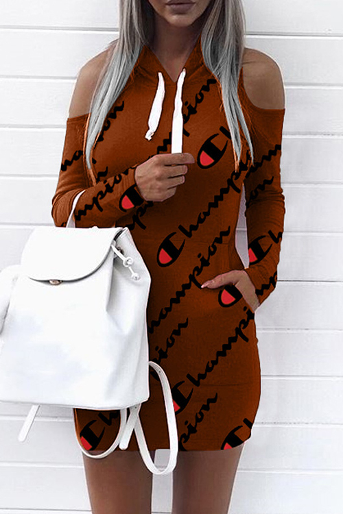 Euramerican Hooded Collar Cold-shoulder Letters Printed Brown Polyester Mini Dress(Non Positioning Printing) Dresses <br><br>