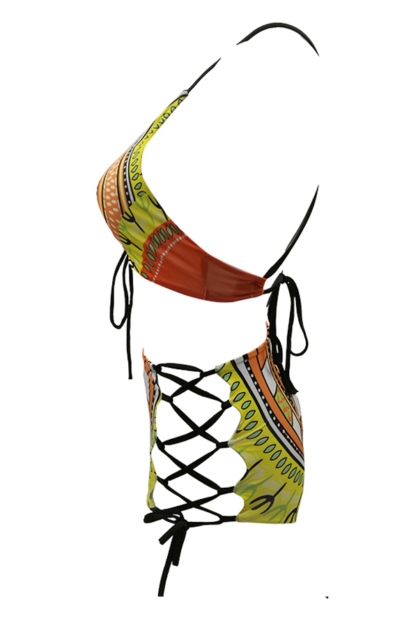 Euramerican Lace-up Hollow-out Printed Yellow Polyester Two-piece Swimwear