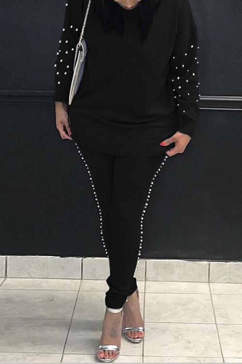 Decoración Casual De Perlas De Cuello Redondo Mezcla De Negro Pantalones De Dos Piezas