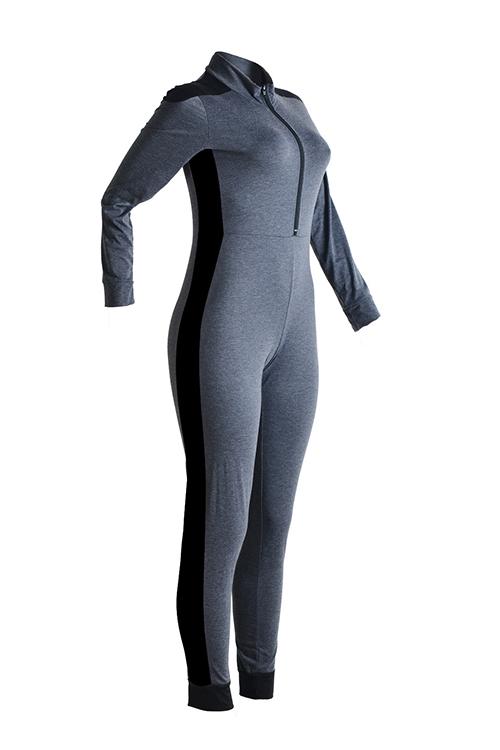 Casual Mandarin Collar Patchwork Grey Blending One-piece Jumpsuits