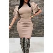 Sexy Round Neck Ruffle Sleeves Khaki Polyester Knee Length Dress