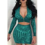 Sexy Mandarin Collar Sequins Design Green Polyester Two-piece Skirt Set